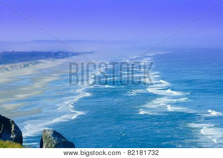 Sandy Beach  Over The Pacific