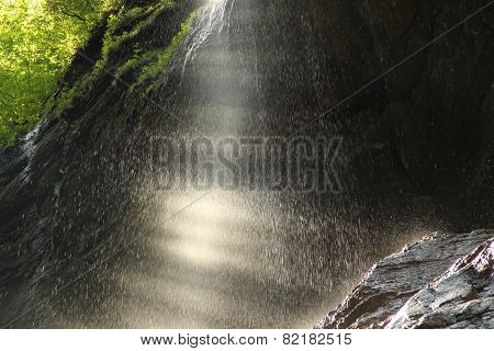 Spray Or Shower From Water In The Cave