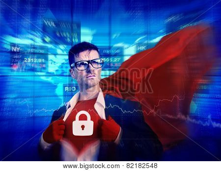 Privacy Strong Superhero Success Professional Empowerment Stock Concept