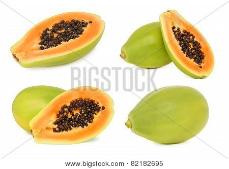Set Ripe Papaya (isolated)