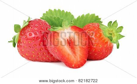 Two Whole And A Half Ripe Strawberry With Green Leaves (isolated)