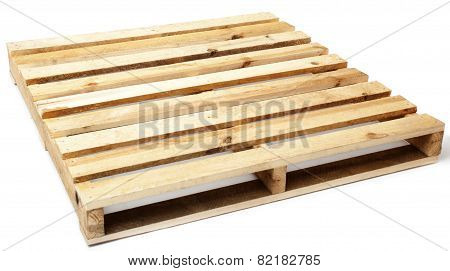 Single Wooden Pallet Isolated on White Background