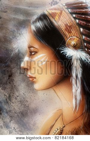 Airbrush Painting Of A Young Indian Woman