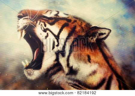 A beautiful airbrush painting of a mighty roaring tiger emerging from an abstract cosmical backgroun