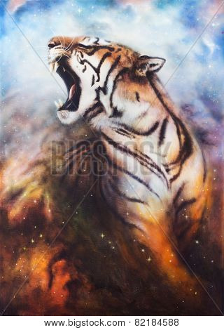 Roaring Tiger On A Abstract Cosmical Background