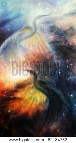 Bird  Heron In Beautiful Space Airbrush Painting