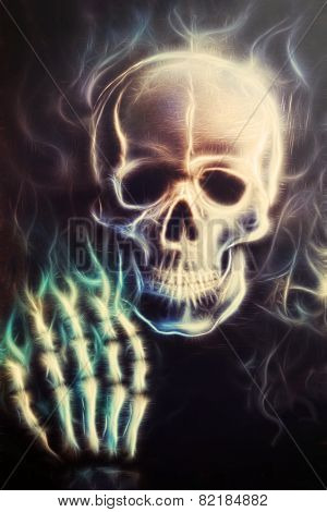 Pirate Skulll With Hand Painting death Fractal Effect