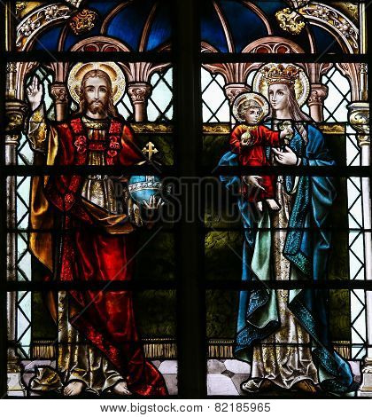 Jesus And Mother Mary - Stained Glass In Mechelen Cathedral