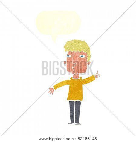 cartoon man raising point with speech bubble