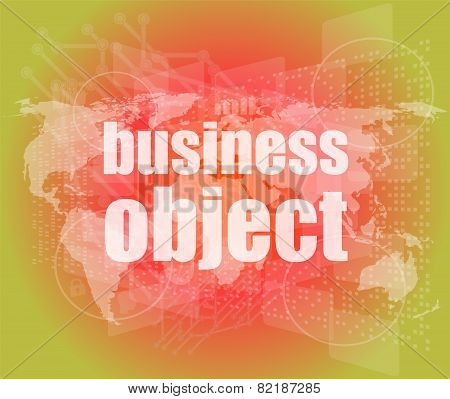 Business Object Word On Digital Screen, Mission Control Interface Hi Technology