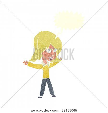 cartoon woman gesturing with speech bubble