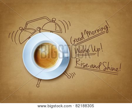 Good morning coffee and alarm clock concept
