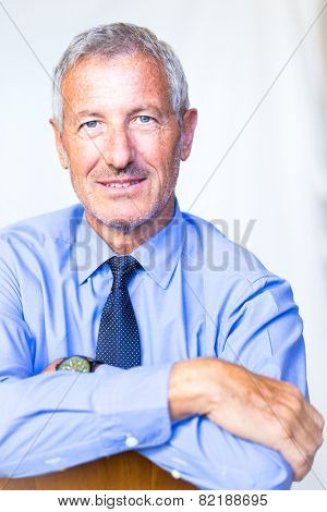 Successful mature handsome businessman portraited in his office