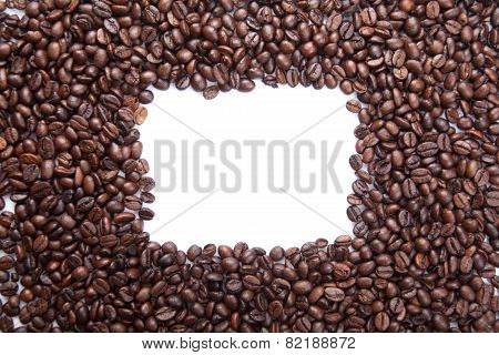 Roasted Coffee Beans With Rectangular Copy Space