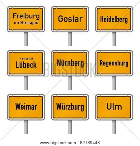 Germany Tourism Highlights City Limits Sign Vector. City limits signs of Germany's most visited historic cities vector illustration isolated on white background set, part 2
