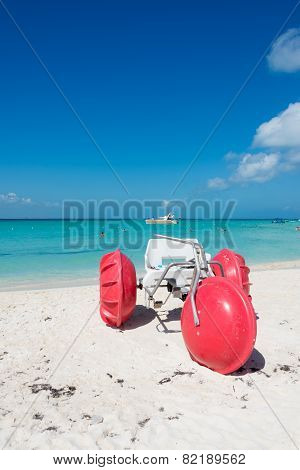 Tricycle At Isla Mujeres Beach, Tropical Paradise, Caribbean. Mexico Island Near Cancun. Traveling R