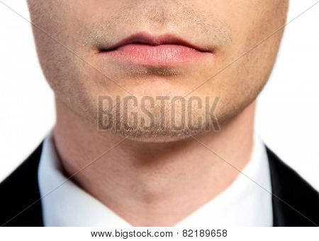Isolated business man face closeup