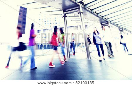 People Walking Commuter City Concept