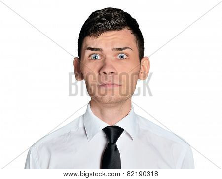 Isolated business man scared face
