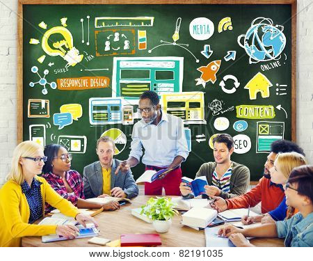 Diversity Casual People Responsive Design Studying Teamwork Concept