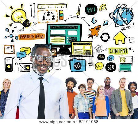 Diversity Casual People Responsive Design Leadership Teamwork Concept