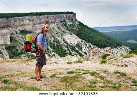 Hiking manon top of mountain