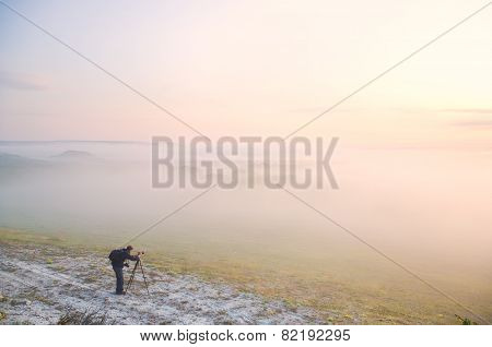 The Photographer At Foggy Meadow