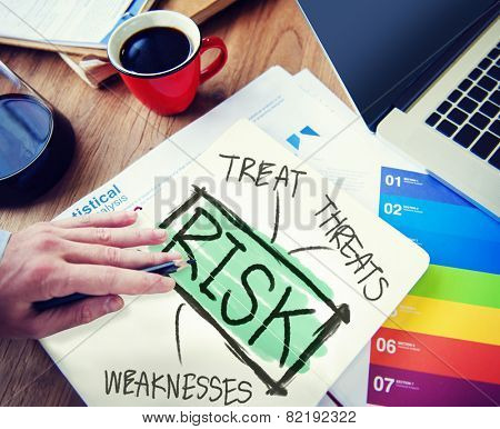 Businessman Risk Treat Threats Weaknesses Concept