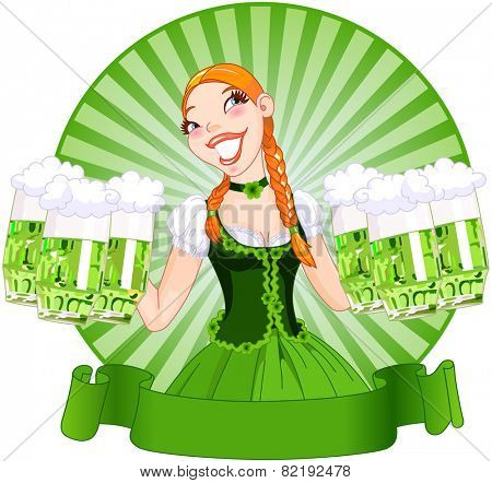 Illustration of young female serving a green beer for St. Patricks Day