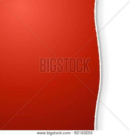 Red title page with torn edge vector template.