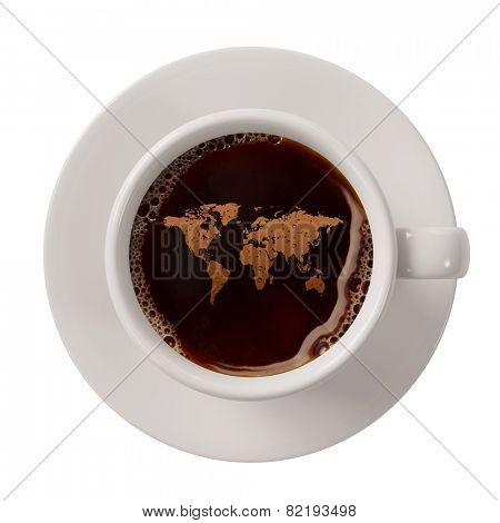 World map in a cup of coffee as symbol for fair trade coffee (3D Rendering)