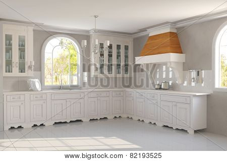 New empty clean white kitchen in a house (3D Rendering)