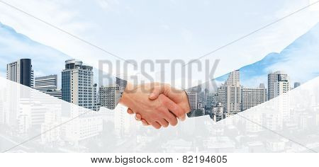 Handshake and a city. Double exposure creative concept.