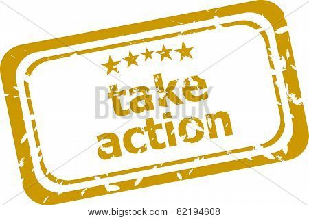 Take Action Red Rubber Stamp Over A White Background