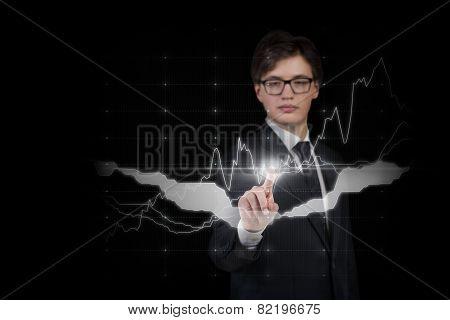 Businessman Pushing Forex Graph