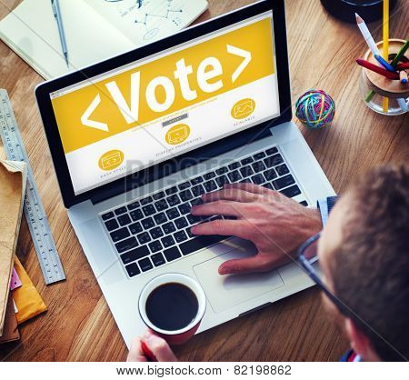 Digital Online Vote Democracy Politics Election Government Concept