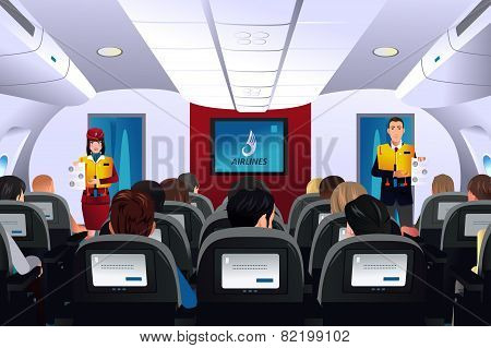 Flight Attendant Showing Safety Procedure To Passengers