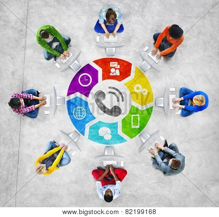 People Social Networking and Telecommunication Concept