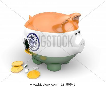 India economy and finance concept for poverty and debts