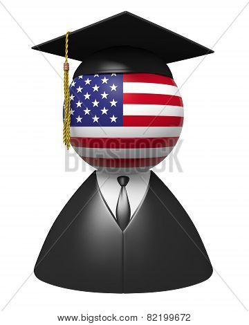 American college graduate concept for schools and education