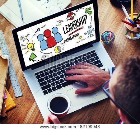 Businessman Leadership Management Digital Communication Manage Concept