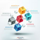 stock photo of parallelepiped  - Modern infographics options template with 5 realistic colorful cubes and 4 options - JPG