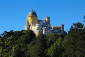 stock photo of palace  - The Pena National Palace is a romantic palace in the municipality of Sintra Portugal - JPG
