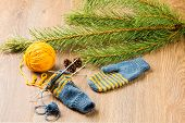 image of pine-needle  - ball of threads knitting needles mittens and branch of pine on wooden background - JPG