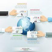 pic of diagram  - Business hands global infographics template - JPG