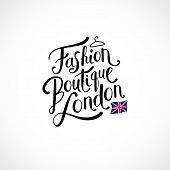stock photo of boutique  - Simple Text Design for Fashion Boutique London Concept with Small London England Flag - JPG