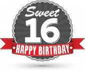 stock photo of 16 year old  - Happy birthday 16 years retro label with red ribbon vector illustration - JPG