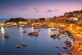 stock photo of marina  - Evening in Mikrolimano marina in Athens - JPG