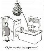 picture of bundle  - Cartoon of doctor looking at huge bundle of paperwork - JPG