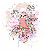 pic of owls  - Stylish floral background with cartoon owl in light colors - JPG
